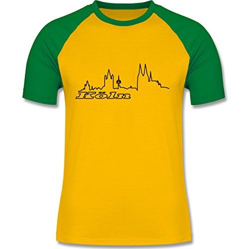 Skyline - Köln Skyline - zweifarbiges Baseballshirt für Männer Gelb/Grün