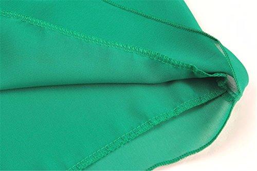 QIYUN.Z Korea-Art Frauen Normallack Des Sommers Chiffon- Kurzhuelse Duennes T-Shirts Oberteile Grün