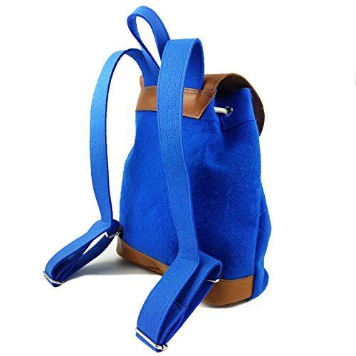 6810f9f913050 ... Venetto Designer Rucksack aus Filz und Leder Elementen sehr leicht  backpack unisex (Grau) Blau ...