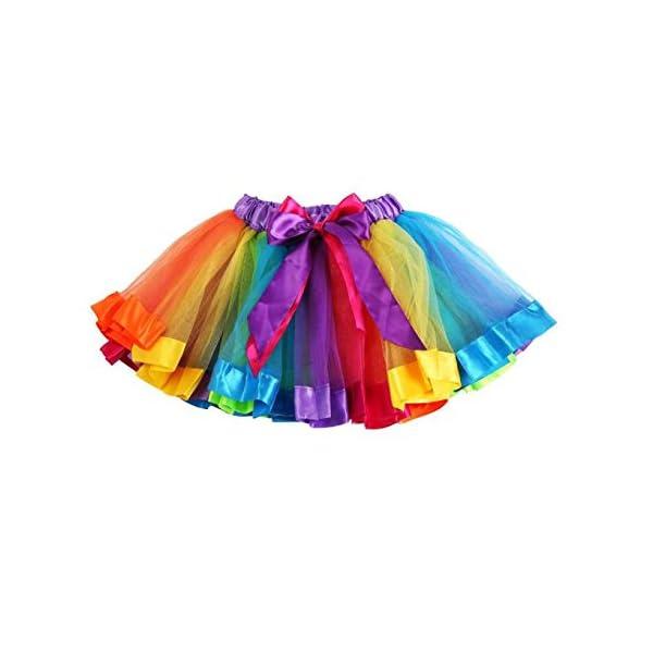 PinkLu Falda De Malla De Arco Iris De Siete Colores NiñAs NiñOs Enagua Arco Iris Pettiskirt Falda Bowknot Vestido Tutu… 1