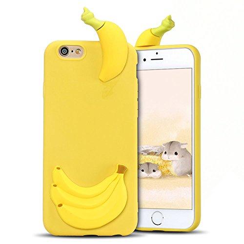 Coque pour iPhone 6S Plus ,Etui iPhone 6 Plus , Transparente TPU Case Silicone Slim Souple Étui de Protection Flexible Soft Cover avec Charmant Fruit Motif Coloré Anti Choc Ultra Mince Integrale Couve Banane