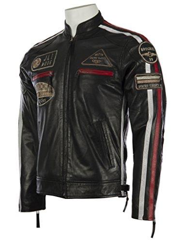 Herren echtes Leder Bikerjacke mit Bandkragen und Rennabzeichen von MDK - 2