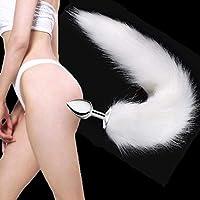 Erotik Analplug Edelstahl mit Fuchsschwanz (Ø25mm, Fetisch Fox Tail Butt plug Sexy Cosplay Anal Dildo Bdsms Sex Spielzeug Für Männer Frauen Paare Weiß)
