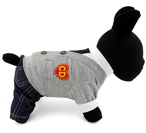 ranphy British Style Track Suit grau Fake zwei Hemd Denim Hose Pet Kostüm klein Hund (Kostüme Of Best British)