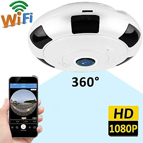 XWZG WiFi IP-Kamera 360 Grad-Kamera-Überwachungs-Haussicherheits-drahtlose Kamera 1080p volles HD-breites Objektiv, Nachtsicht 2-Wege-Audio für Zuhause/Büro/Kindermädchen/Haustier/Baby-Monitor