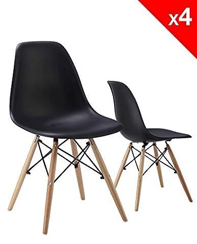 KAYELLES Chaises Design NEO, style DSW, Lot de 4 chaises de Cuisine, Salle à Manger, Piétement en hêtre (Noir)