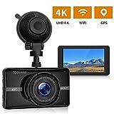 Caméra de Voiture, TOGUARD 4K WiFi GPS Dashcam Voiture Enregistreur de Conduite Ultra HD 3 pouces Dash-Cam pour voiture 170 degrés Angle Voiture Caméra de Bord avec G capteur, WDR