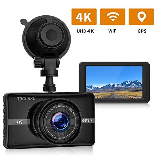 """TOGUARD Cámara de Coche 4K Ultra HD con GPS WIFI Dash Cam 3\"""" LCD Grande Ángulo de 170° Cámara para Coche, con Monitor de Estacionamiento, Grabación en Bucle, Sensor G"""