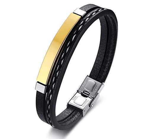 PJ JEWELLERY Personalisierte Angepasst Gravieren Edelstahl Geflochtene Leder ID Manschette Armbänder für Männer, Vergoldet