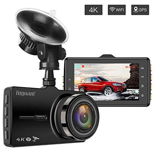 4 K Dash Cam TOGUARD mit GPS und WLAN auf Autokamera Fahren Video Recorder 7,6 cm Bildschirm Armaturenbrett Kamera mit Loop-Aufnahme, Parkmonitor, G-Sensor