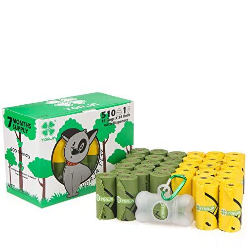 Yorja cacca sacchetti per bisogni dei cani con dispenser,34 rotoli/510 unità,extra spessi,forti e prova di perdite,biodegradabili étanches sacchetti per cani