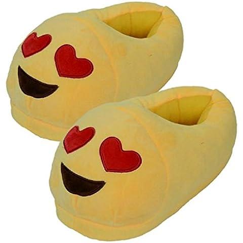 Sannysis® Emoji Emoticon Zapatillas Cómodo Suela Térmica Vellocino Invierno (D)