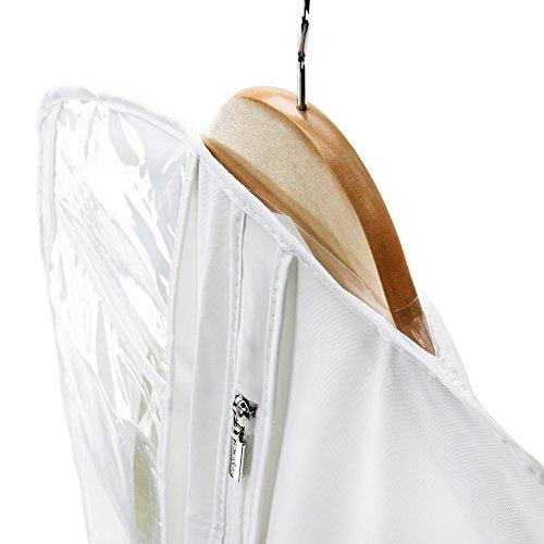 1034eef89e7c HANGERWORLD 3 Custodie Porta Abito da Sposa 183cm Extra Large Impermeabile  Bianco con Cerniera Lampo