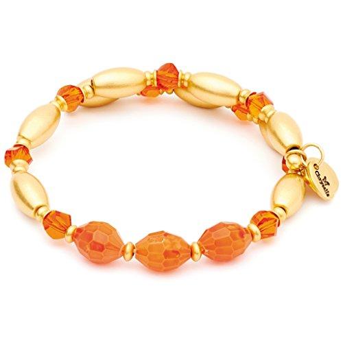 Chrysalis CRBW0003GPORAN Damen Armreif Gaia Feuer Messing vergoldet gold orange Glasstein 20,5 cm