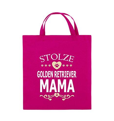 Comedy Bags - Stolze Golden Retriever Mama - HERZ - Jutebeutel - kurze Henkel - 38x42cm - Farbe: Schwarz / Weiss-Neongrün Pink / Rosa-Weiss-Beige