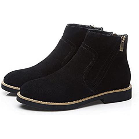 Botas de cuero invierno casual plana redonda en Europa y desnudo de Martin tubo botas de botas de las mujeres , black ,