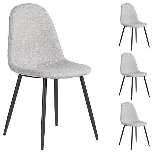 IDIMEX Lot de 4 chaises Brit pour Salle à Manger ou Cuisine au Design scandinave avec 4 Pieds en métal laqué Noir, revêtement en Tissu Gris