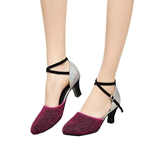 Damen Tanzschuhe Dasongff Glitzer Geschlossen Dacing Shoe Soziale Partei Tango Pumps Sandalen Modern Ballrom Sandaletten Sommersandalen Brautschuhe
