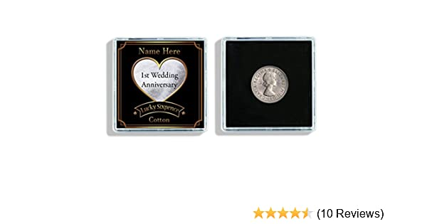 Personalised 1st Wedding Anniversary Lucky Sixpence Keepsake In