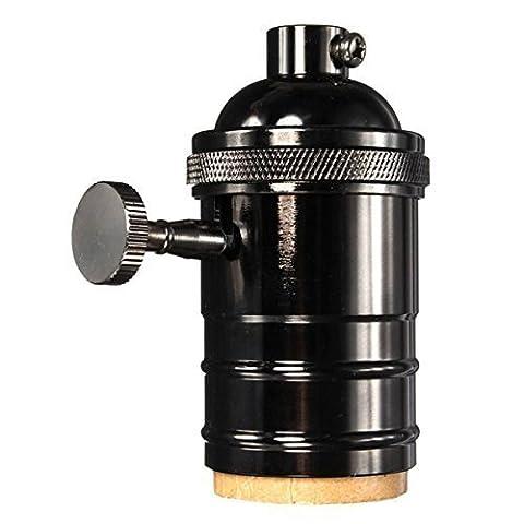 KINGSO Lustre E27 Adaptateur De Douille Edison Retro Pendant Lampe Avec Interrupteur En Cuivre 250V Noir