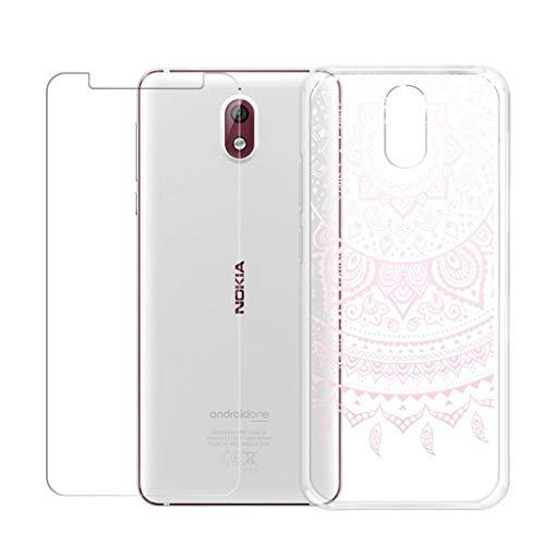 WenJie Funda Transparente Patrón Rosa Silicona Case Carcasa, Regalo Uno Gratis Película Protectora para Nokia 3.1 (5.2')