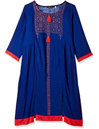 Avaana Royal Blue Printed Cotton-Cambric Long Kurta
