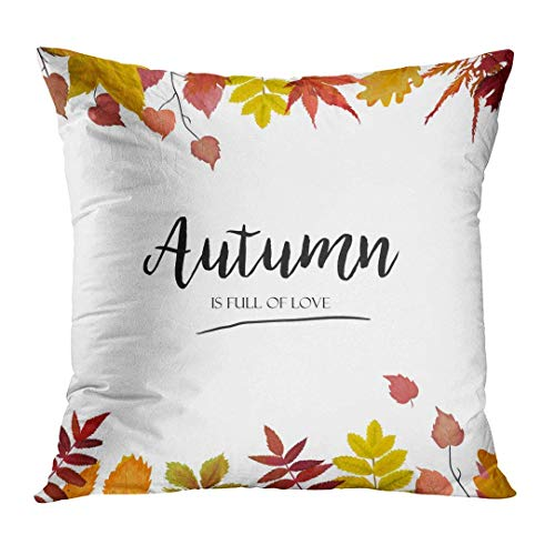 KENETOINA Throw Pillow Cover Floral Watercolor Autumn Season Border Colorful Orange Yellow Burgundy Red Fall Leaves Forest Maple Oak Decorative Pillow Case Home Decor Square 18