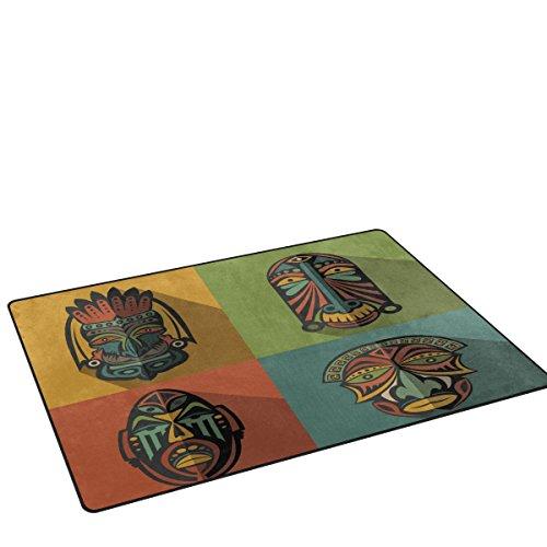 Coosun insieme di maschere tribali etnici africani area rug carpet antiscivolo tappetino zerbini per soggiorno camera da letto 31 x 20 pollici 31 x 20 pollici multi