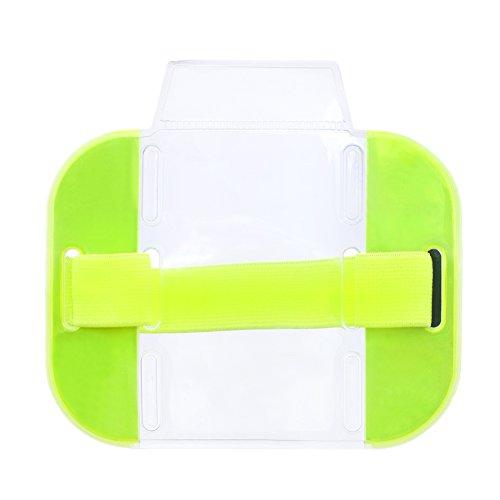 GOGO clair Brassard ID badge Holders, chargement par le dessus avec bande élastique Heavy Duty réglable 1 pièce jaune