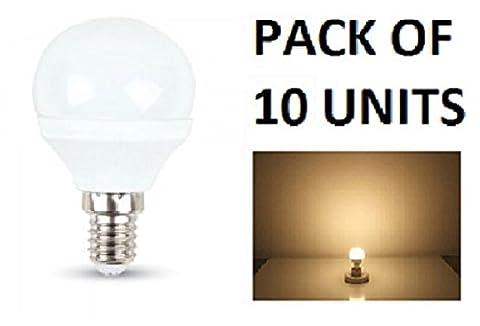 V-TAC LED 3W P45Golf Ball Leuchtmittel–10Stück–E14/SES/Kleines Edisongewinde–Warm Weiß 2700K/250Lumen/Kunststoff-Finish/entspricht 25W Glühlampe/20.000Stunden durchschnittliche Lebensdauer/nicht dimmbar/220–240V–180Grad Abstrahlwinkel/50Hz/SKU: 7199X 10