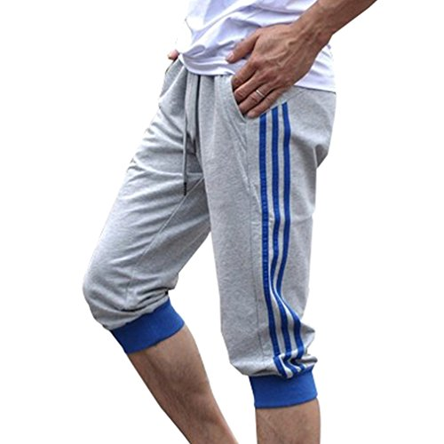 Hibote Männer Sport Sweat Hosen Shorts 3/4 Jogginghose Gym Cotton Casual Hosen Blau 2XL