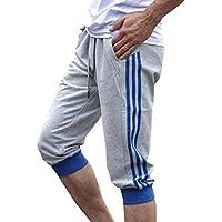 Juleya Pantalones Deportivos Deportivos para Hombres Pantalones Cortos 3/4 Pantalones Cortos Pantalones Deportivos Deportivos de algodón M-2XL