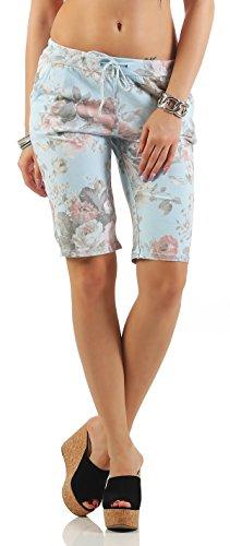 ZARMEXX mode femme Shorts Sweatpants Shorts courts pantalons sport loisir fleurs de coton bleu clair