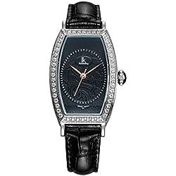 Fashion Simple Creative Rectangle Luxury Rhinestones Leather Strap Quartz Women Wrist Watch,Black