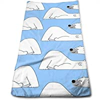 ewtretr Toallas De Mano, Cartoon Polar Bear Blue Cool Towel Beach Towel Instant Cool Ice