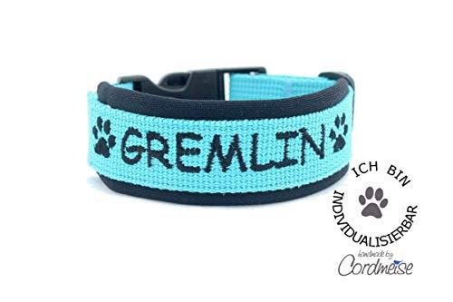 Handgefertigtes Hundehalsband aus Gurtband mit Neopren mit Wunschtext individuell personalisiert Farbauswahl, Größenauswahl, Schrift, Reflektierendes Halsband