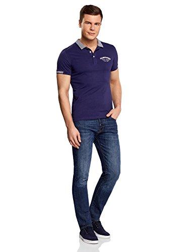 oodji Ultra Herren Baumwoll-Poloshirt IM Marine-Stil Blau (7910B)