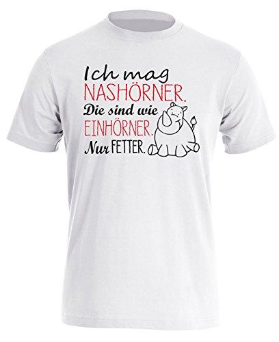 Ich mag Nashörner, die sind wie Einhörner - nur Fetter! - Herren Rundhals T-Shirt Weiss/Schwarz-rot