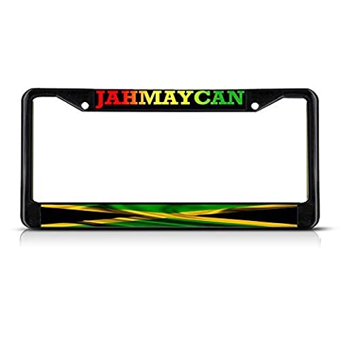 License Plate Frame Jamaican Jamaica With Wavy Flag METAL Black License Plate Frame Tag Holder