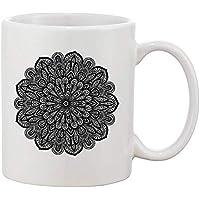 Finest Prints Very Detailed and Artsy Mandala Taza de café y té de cerámica Blanca
