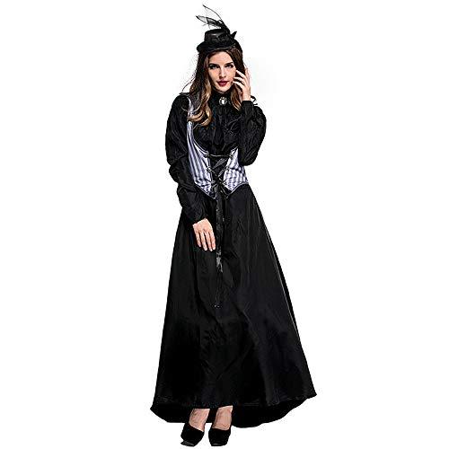 Erwachsene Weibliche Killer Fancy Kleid Party Kleidung Earl Queen Halloween Kostüm,Black,L (Weibliche Killer Kostüm)