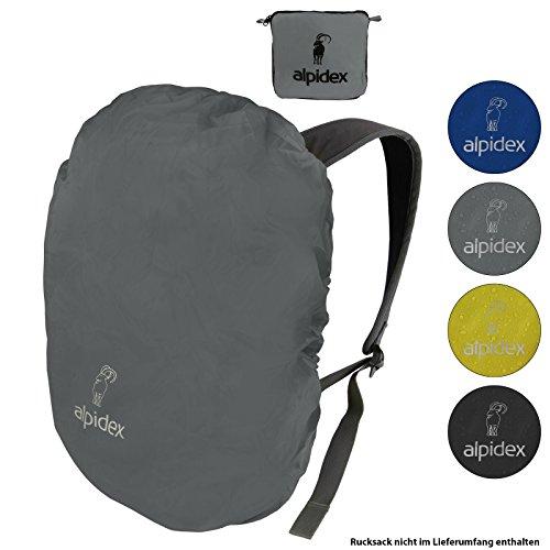 ALPIDEX Rucksack Regenschutz wasserdichte Regenhülle Kordelstopper Packsack Verschiedene Größen, Farbe:Grey, Volumen:6-15 Liter