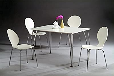 Arne Jacobsen Style Inspired White Dining Table-Icon 4 Seater Rectangular Wooden Dining Table(TABLE ONLY)-White Wooden Top & Chrome Curved Legs - cheap UK dining table shop.