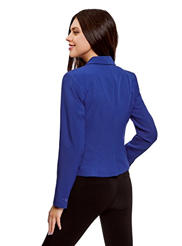 oodji Ultra Damen Taillierter Blazer Basic Blau (7502N)