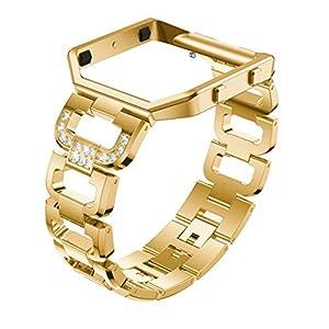 TopTen Fitbit Blaze Uhrenarmband, Edelstahl-Ersatzarmband, Sportarmband, verstellbar, mit Rahmen für Fitbit Blaze Smart Fitness Watch