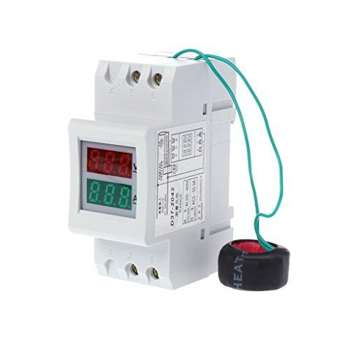 Besttse 2P 36 mm DIN-Schiene Dual LED Spannung Strommesser Voltmeter Amperemeter AC 80-300 V 250-450 V 0-100 A