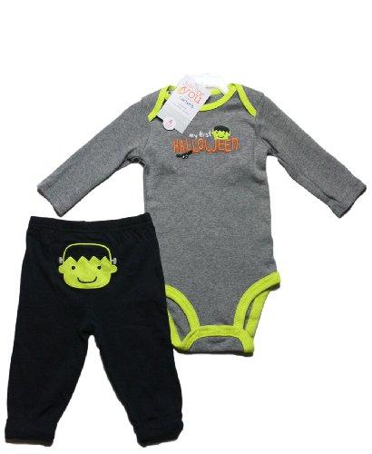 Halloween Baby Outfit Kleidung Langarmbody Hose mit Po Motiv Frankenstein (0-24 Monate) (Outfit Frankenstein)