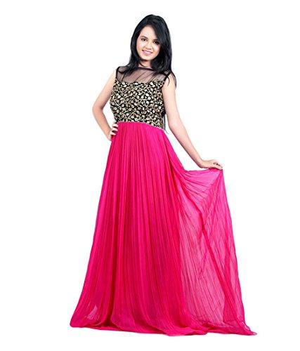 SiyaRam Women\'s western Design Georgette Pink gown (SR2145 _Free Size_Pink)