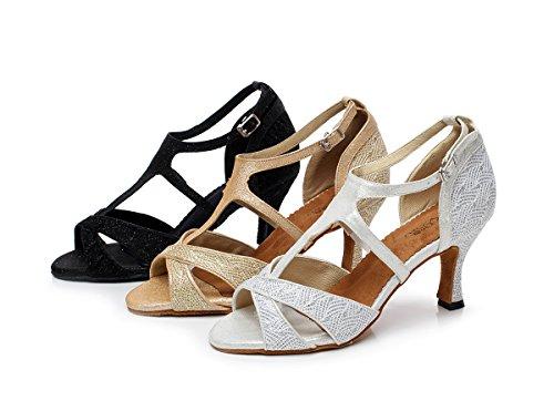 Minitoo da donna stile qj6203T-Strap tacchi Mesh Salsa Latin Dance scarpe Silver
