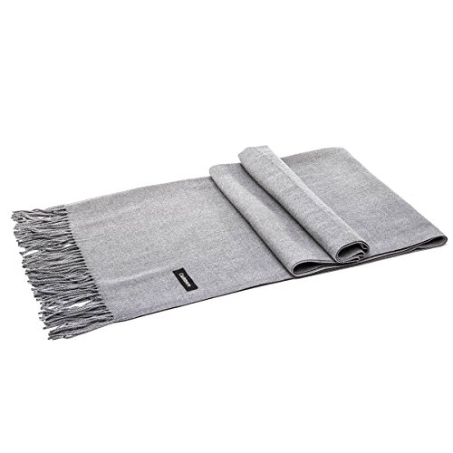 LeKuni Schal Damen Herren Unisex Kaschmir-Mischung Modeschal Pashmina langer Cashmere weicher warmer modischer Cape Umhang Unifarben,Grey_MH (Damen Schal)